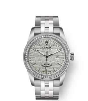 Cheap Tudor Glamour Date Review Replica Watch 31 mm steel case Diamond-set bezel m53020-0001