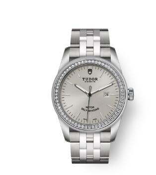 Cheap Tudor Glamour Date Review Replica Watch 31 mm steel case Diamond-set bezel m53020-0004