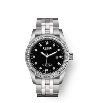 Cheap Tudor Glamour Date Review Replica Watch 31 mm steel case Diamond-set dial m53020-0007