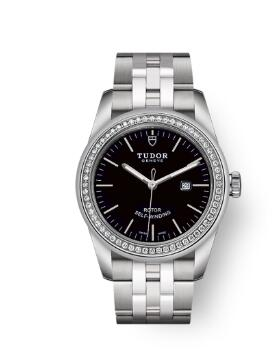 Cheap Tudor Glamour Date Review Replica Watch 31 mm steel case Diamond-set bezel m53020-0008