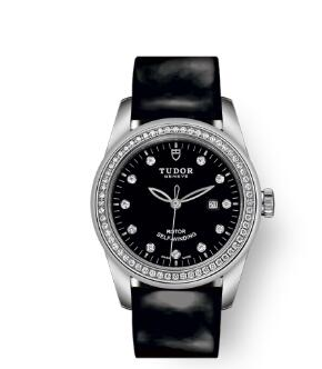 Cheap Tudor Glamour Date Review Replica Watch 31 mm steel case Diamond-set dial m53020-0048