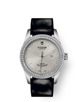 Cheap Tudor Glamour Date Review Replica Watch 31 mm steel case Diamond-set bezel m53020-0052